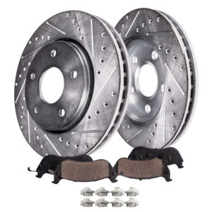 Detroit Axle Front and Rear Drilled Slotted Disc Brake Rotors